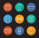 Kitchen and bathroom flat linear long shadow icons set Royalty Free Stock Photography