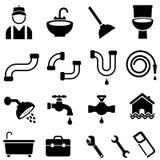 Kitchen, bathroom and house plumbing icons. Kitchen, bathroom and house plumbing icon set Royalty Free Stock Image