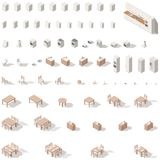 Kitchen and bathroom low poly isometric icon set. Vector graphic illustration Stock Image