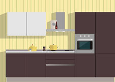 Kitchen. Beautiful bright kitchen, simple and attractive . There are several things . Light , color, pleasant tone for the perception Stock Photos
