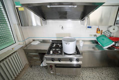 Kitchen with big cauldron of aluminium and the cookers of steel Royalty Free Stock Photography