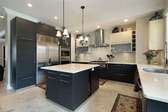 Kitchen with black cabinets Stock Photo