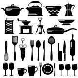 Kitchen black icons set Stock Photography