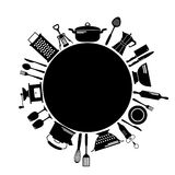 Kitchen black round background with place for text Royalty Free Stock Photography