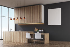 Kitchen: black wall and poster Stock Photos