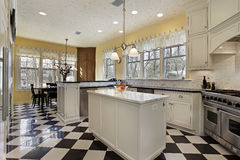 Kitchen with black and white flooring royalty free stock image