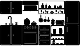 Kitchen in black-and-white. Royalty Free Stock Image