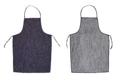 Kitchen blue apron. Front and back view Stock Photos