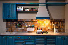 Kitchen with blue boiling Stock Photo