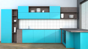 Kitchen in blue Stock Photography