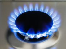Kitchen blue flame on a burner Stock Images