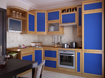 Kitchen with blue inserts Stock Image