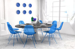 Kitchen in blue and white floor. 3d illustration Stock Photos