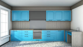 Kitchen in blue in white interior Stock Image