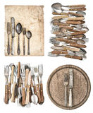 Kitchen board, aged paper, antique kitchen utensils and vintage Stock Photos