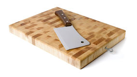 Kitchen board and hatchet. Royalty Free Stock Images