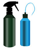 Kitchen Bottles. Two kitchen bottles, a green spray bottle and a blue nozzle style Stock Photo