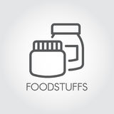 Kitchen boxes for various products and ingredients. Conceptual icon in linear style. Foodstuffs contour label Royalty Free Stock Image