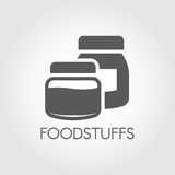 Kitchen boxes for various products and ingredients. Icon in flat design. Foodstuffs black label. Vector illustration Royalty Free Stock Photography