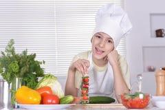 kitchen boy holding Royalty Free Stock Photo