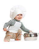 Kitchen boy with pan on white. Studio shot Stock Photos