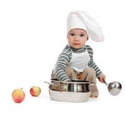 Kitchen boy with pan on white. Studio shot Royalty Free Stock Photos