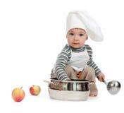 Kitchen boy with pan on white Royalty Free Stock Photos