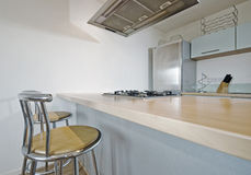 Kitchen with breakfast bar Royalty Free Stock Photo