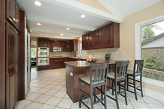 Kitchen with breakfast bar Stock Image