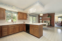 Kitchen with brick fireplace Royalty Free Stock Photos