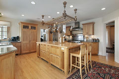 Kitchen with butcher block island Stock Image