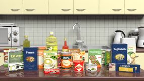 Kitchen cabinet closeup with grocery products Royalty Free Stock Photo