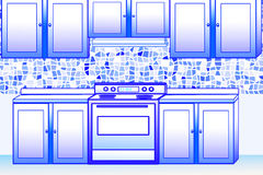 Kitchen and cabinet design royalty free illustration