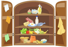 Kitchen cabinet. Open kitchen cabinet containing pyramid food stock illustration