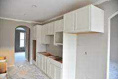 Kitchen cabinet remodeling project. Royalty Free Stock Photos