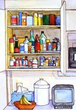 Kitchen Cabinet Revealed. Open doors of the kitchen cabinet shows its contents and the items on the shelf below Stock Photo