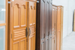 Kitchen cabinets closeup at home Royalty Free Stock Photo