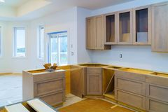 Kitchen cabinets installation Improvement Remodel worm's view installed in a new kitchen. Kitchen cabinets installation Improvement Kitchen Remodel worm&# royalty free stock images