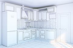 Kitchen cabinets in interior Stock Photo