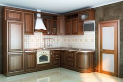 Kitchen cabinets in interior. Beautiful kitchen interior of wood in the sun Stock Images