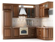 Kitchen cabinets in studio Royalty Free Stock Images