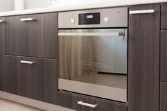 Free Kitchen Cabinets With Metal Handles And Built-in Electric Oven. Stock Image - 85353371