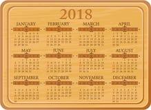 Kitchen calendar for 2018 year Stock Photos