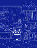 Kitchen cartoon map style background Stock Images