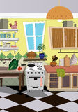 Kitchen cartoon style background Stock Image
