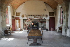 Kitchen of castle. The kitchen of the castle of Pommard, France, Burgundy. Castle celebrates for its red wine, Grand Cru(vintage wine) of Burgundy Royalty Free Stock Photography