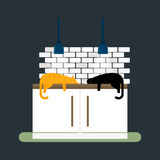 Kitchen cats and furniture interior flat style vector illustration Stock Image