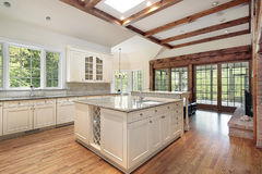 Kitchen with ceiling wood beams Stock Images