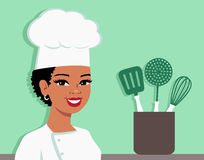 Kitchen Chef Cartoon Baker Illustration of Woman. Illustration of an african american or hispanic black cartoon girl with dark skin wearing Chef Hat and looking stock illustration