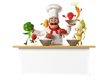 Kitchen chef with vegatables Stock Photo